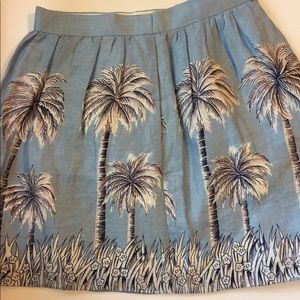 J. Crew NWT sea blue skirt with palm trees! Size 4
